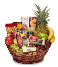Fruit Basket With Pineapple, Cheese and Gourmet Foods