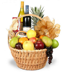 Grand Celebrations Fruit Gourmet Wine Basket $134.95 Same Day Delivery
