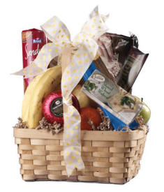 Afternoon Delights Gift Basket - Fruit, Cheese, Sausage, Crackers Gourmet