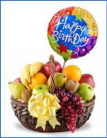 Lake Geneva Birthday Fruit Basket With Balloon 5695