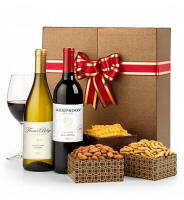 Two fine California wines and gourmet snacks for pairing are featured in a keepsake wine box exclusive to GiftTree. Two custom-made compartments house the wine securely and provide a unique way for them to be displayed at any party or event.
