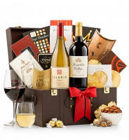 Capture clients, impress colleagues, and cement business relationships with this top selling gift. Earning rave reviews from customers time and again, this large chest holds a prestigious selection of gourmet foods and a bottle each of red and white wine.