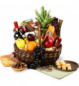 Executive Gourmet Fruit Wine and Gourmet Food Gift Basket $179.95 Same Day Delivery