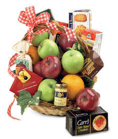 Gourmet Gift Basket Filled With Apples, Cheese, Chocolate, Nuts, Sausage