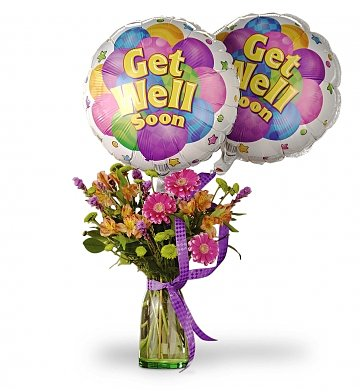 Get Well Soon Bouquet Balloons Gift Baskets Chocolate Cookies Sweets