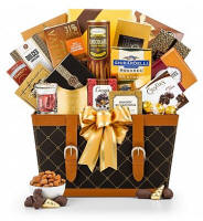 Discover a delectable spread of sweet and savory fare in this memorable gift basket. Across town or across the miles, this golden gift basket is ideal for sending your best wishes.