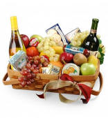 Gourmet Fruit and Wine Gift Basket Same Day Delivery