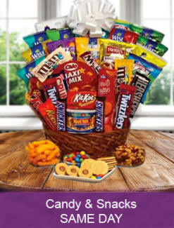 Chocolate, candy, snacks and junk food birthday gift baskets - Same day delivery