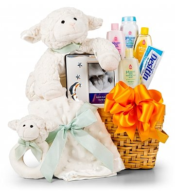 Little Lamb Baby Gift Basket 59 95  C2 B7 A Charming Basket Is Filled With A Plush Lamb Velvet Rattle And Keepsake Picture Frame To Capture Those Special