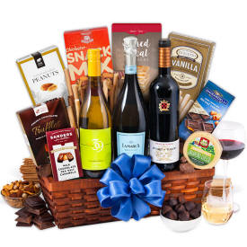 3 Bottles of Wine in a gift basket with gourmet foods